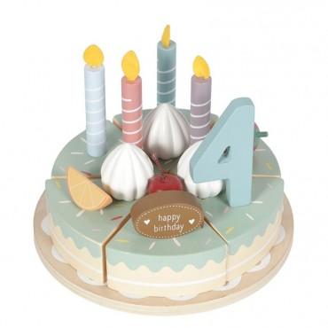LITTLE DUTCH Tarta de cumpleaños de madera (26 piezas)