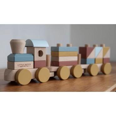 LITTLE DUTCH Tren con bloques de madera